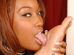 Two pretty ebony girls in some foot licking lesbian fun. Angel Eyes & Sydnee Capri