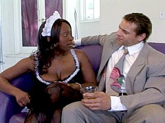 A pole smoking black woman gets bent over the sofa. Skyy Black, watch free porn video.
