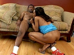 Sexy ebony cocksucker in hardcore action at home. Stacey Cash, watch free porn video.