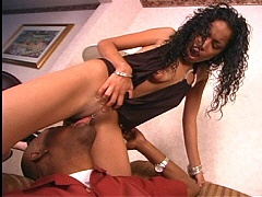 Small breased black babe riding cock like a true pro. Mika Brown, watch free porn video.