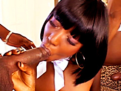Young black slut Taylor Starr gets slammed 2-on-1 by some big chocolate dicks