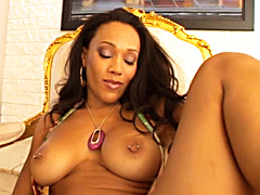 Black babe Cassidy Clay fucked double time by two thick ebony fuck rods