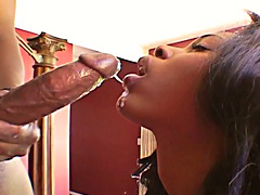 Beautiful Andreena throated heavily by the large black dong