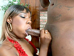 Black slut is gets fucked and gets a juicy load. Tya