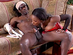 Huge titted black babe fucking with her boyfriend. Ariel Alexus and Byron Long