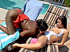 Hot chicks in interracial lesbian orgy. Monique