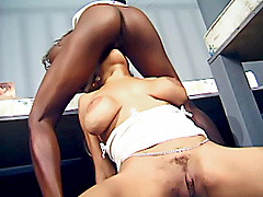 Two black girls lick a shaved white pussy. Giselle Bounces