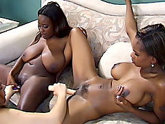Two white girls fuck with two black sluts. Monique