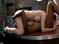 Black lesbian licks a blond hairy pussy. Annie Body & Gabrielle Dreams