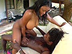 Horny black babe gets her big tits pounded. Lola Lane
