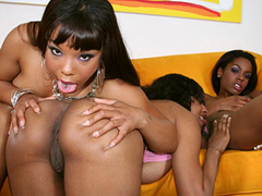 Three smoking hot ebony babes licking each others pussies!