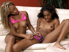 Horny ebony teens licking each others wet pussies!
