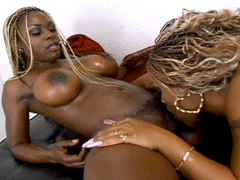 Ebony sluts licking pussy and using sex toys on each other