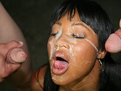 Black porn gang bang video. Porn star name - Evanni Solei