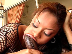 Ebony whore eating black monster dick and gets hard pussy fuck