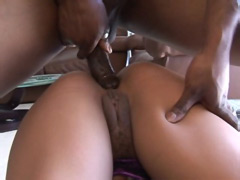 Black babe suck ebony cock has drill ass and eating sperm