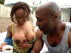 Big boobs ebony chick fucks on glade and gets cum on booty