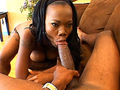 Ebony chick playing with big boobs and black big monster cock