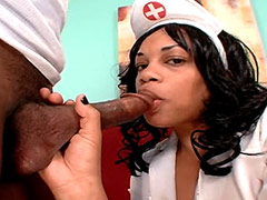 Busty ebony nurse serving black massive monster cock