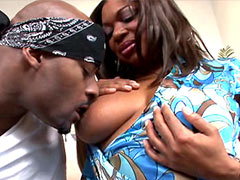 Ebony chick gives wild blowjob and doggystyle fucked on bed