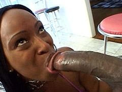 Ebony chick licked huge black dick and hard anal fucked
