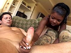 Ebony bitch gets gigantic white cock in her hot anal hole