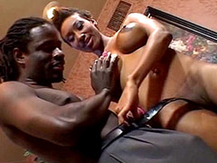 Ebony whore doggystyle fuck and get cream on tits