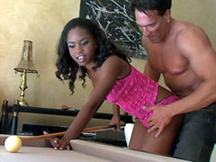 Sexy ebony chick fucked on a billiard tabble