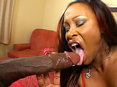 Busty ebony bitch gives blowjob to Mandingo's long black cock and fucking