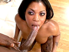 Ebony chick in black stockings analfucking white cock for facial