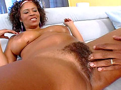 Ebony big booty babe gets big black cock in hairy pussy