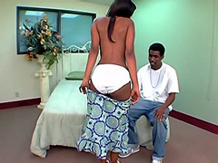 Petite ebony teen tempts black cock by big panties