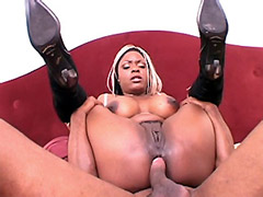 Blonde ebony chick anal screwed by huge black cock
