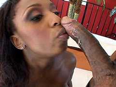 Busty ebony bitch gets jizz on tits from big cock