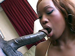 Ebony chick take huge black cock on soft chair