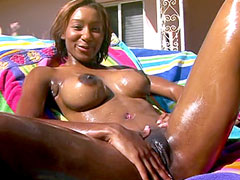 Ebony babe with nice tits jumping on strong white cock for cum