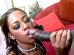 Sexy ebony babe suck gigantic black snake and gets hot cream on face