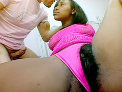 Hot african whore with very hairy cunt gives blowjob and hardcore sex