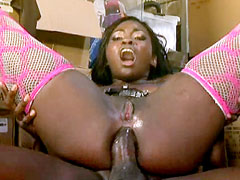 Ebony chick in sexy stockings suck and hardcore anal fucked