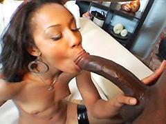Gigantic black cock drilled sexy ebony babe for cumshot