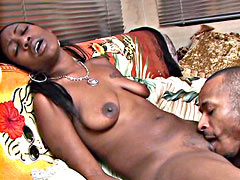 Petite ebony chick gets pussy licked and big dick in wet pussy