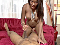 Beauty ebony babe with nice tits suck big black dick for facial cumshot