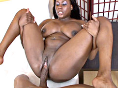 Busty black whore jumping on huge ebony cock and getting pussy cum