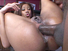 Hungry african babe gives blowjob and hardcore anal fucked