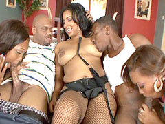 Two hot ebony chiks getting fucked in hardcore group sex