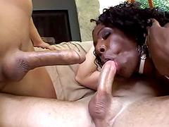 Two big white cocks wild fucked ebony whore and facial cum