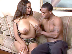 African chik with gigantic natural boobs jumping on hot ebony cock