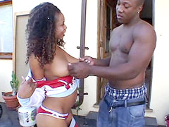 Huge black cock hard anal fuck african chik and give cumshot