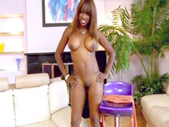 Ebony babe with perfect body jumping on gigantic black dick