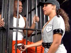 Ebony bitch fucking in a wild hardcore sex in a prison